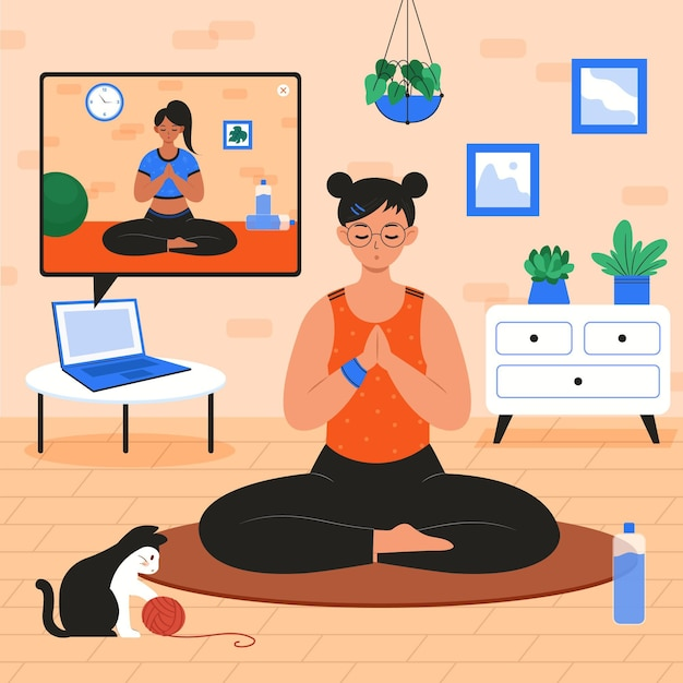 Hand drawn online yoga class concept Free Vector