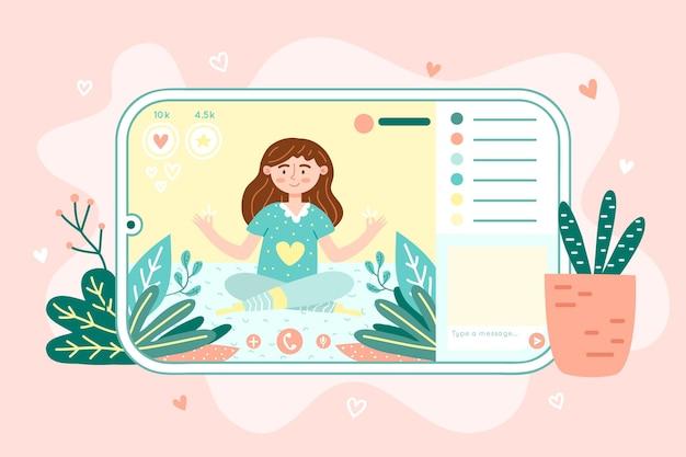 Hand drawn online yoga class concept Premium Vector