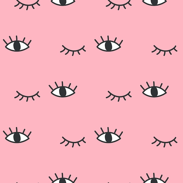 Hand drawn open and winking eyes doodles seamless pattern Premium Vector