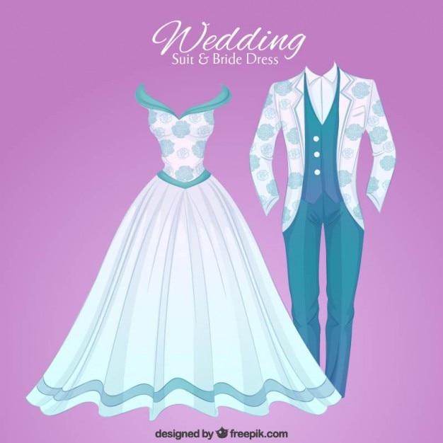 Hand drawn opulent wedding suit and brid dress Premium Vector