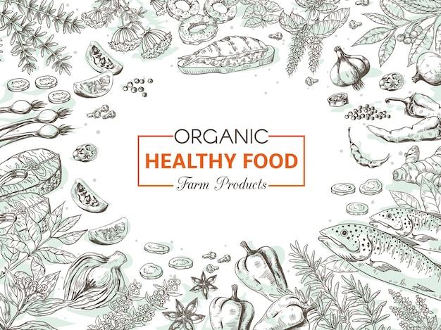 Hand drawn organic food illustration Premium Vector