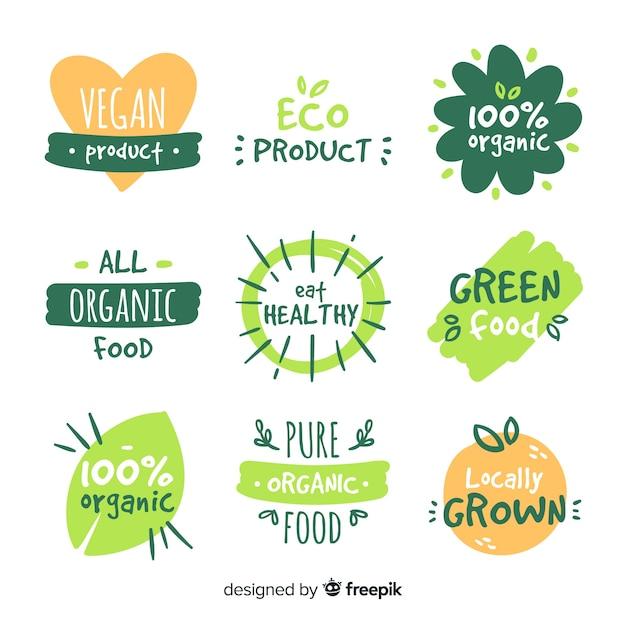 Hand drawn organic food label set Free Vector