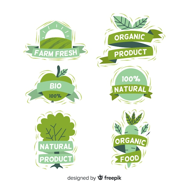 Hand drawn organic food labels collection Free Vector
