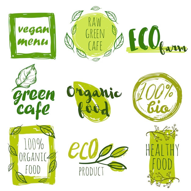 Hand drawn organic food tag set Free Vector