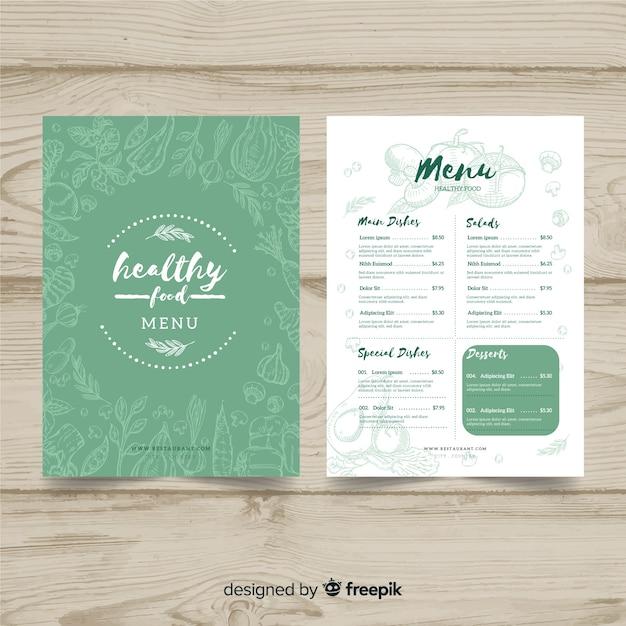 Hand drawn organic menu template Free Vector