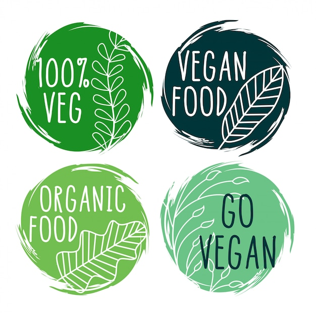 Ручной обращается органические веганские пищевые этикетки и символы Бесплатные векторы