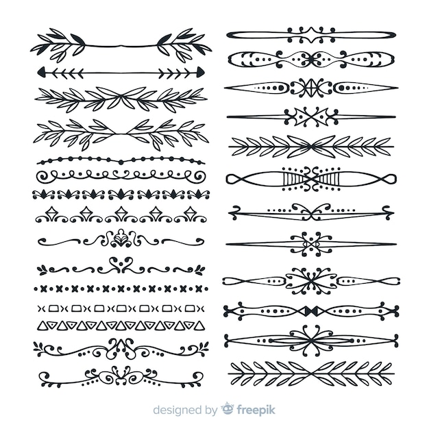 Hand drawn ornament divider collection Free Vector