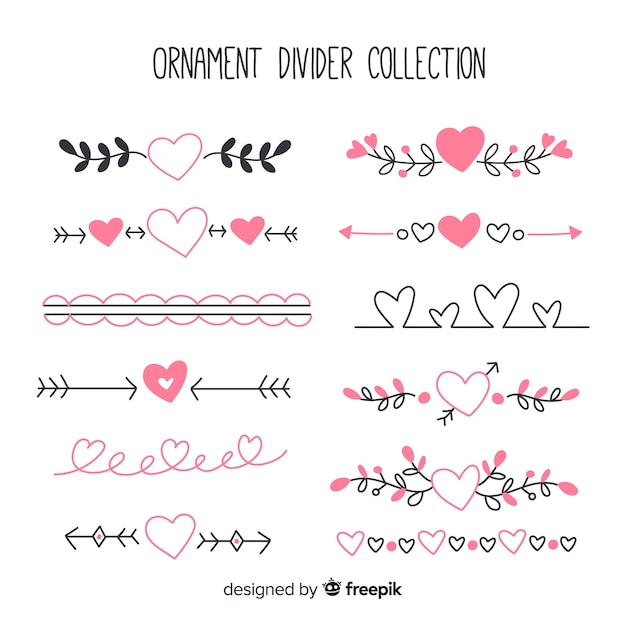 Hand drawn ornament divider set with hearts Free Vector