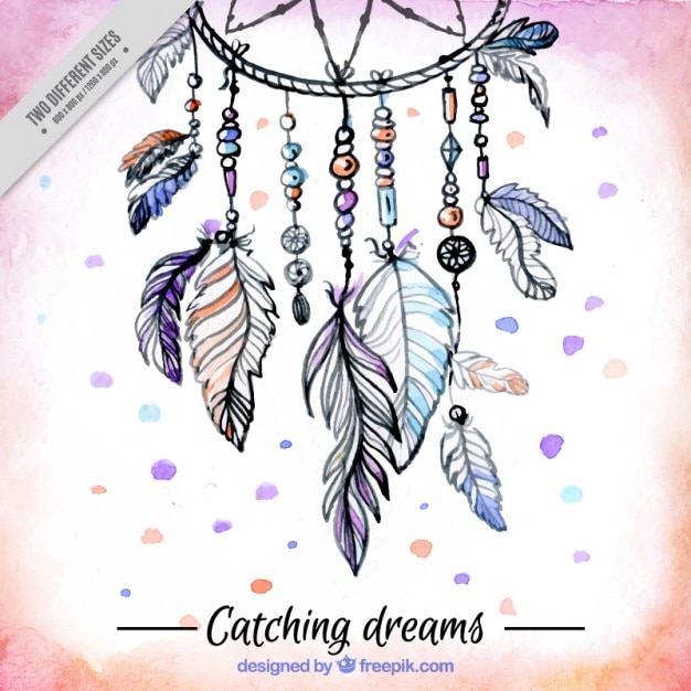 Hand drawn ornamental background with a ethnic dream catcher Free Vector