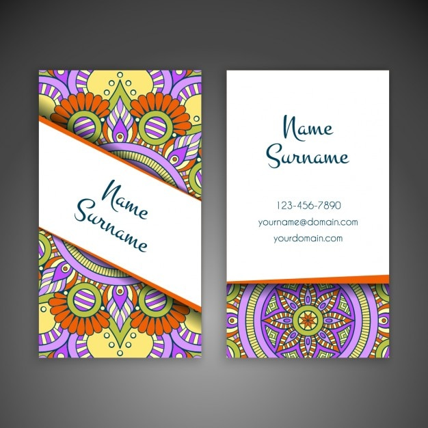 Hand drawn ornamental business card Free Vector