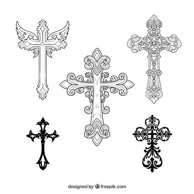 Hand drawn ornamental cross Free Vector