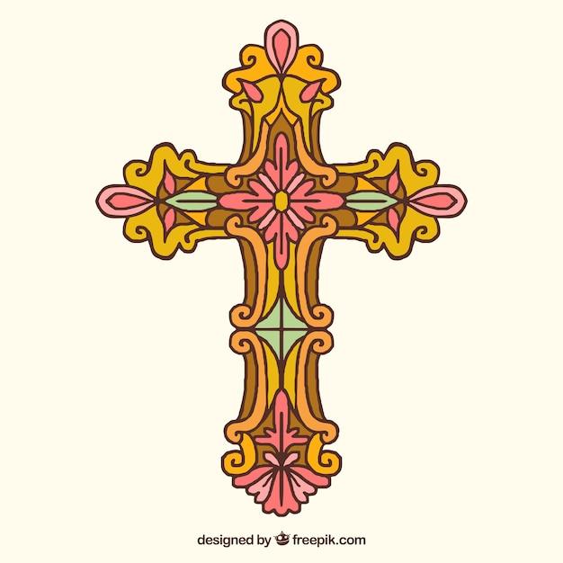手描きの装飾的な十字架 無料ベクター