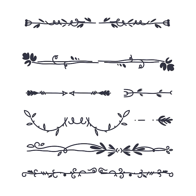 Hand-drawn ornamental divider collection Free Vector
