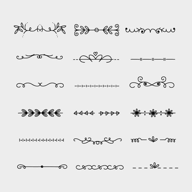 Hand drawn ornamental divider pack Free Vector