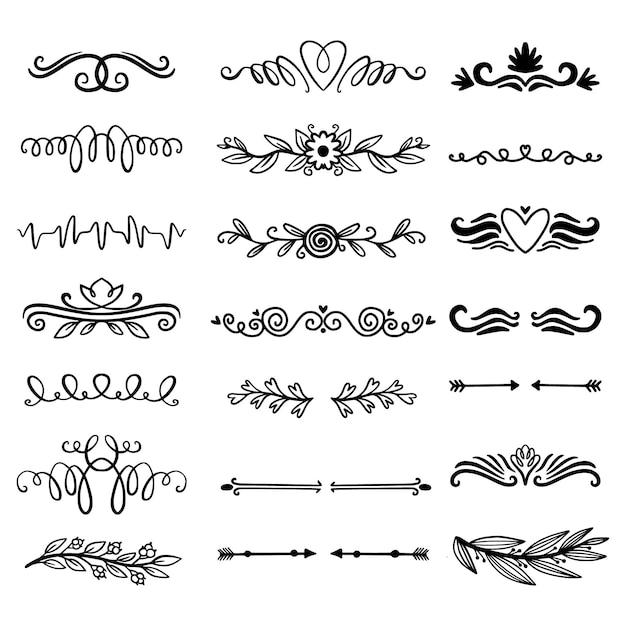 Набор рисованной декоративных разделителей Бесплатные векторы