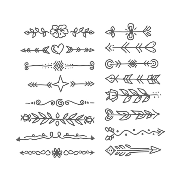 Hand drawn ornamental divider set Free Vector