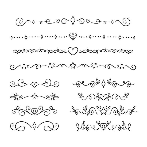 Hand drawn ornamental divider set Free Vector