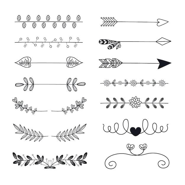 Ручной обращается декоративный разделитель со стрелками и листьями Бесплатные векторы