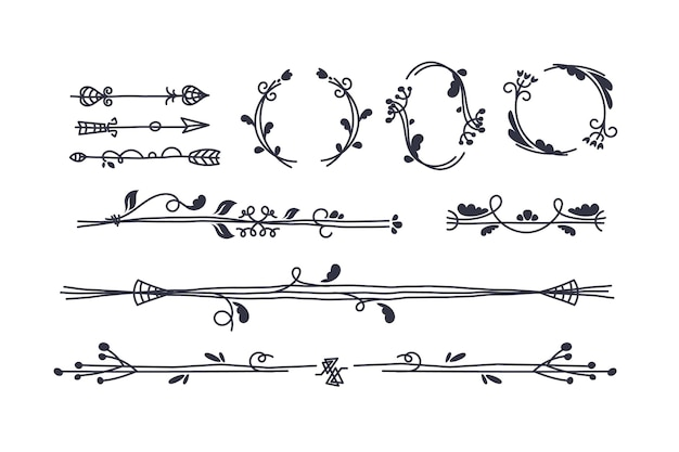 Hand-drawn ornamental element collection Free Vector