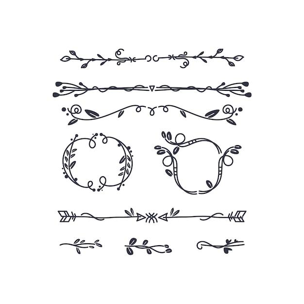Hand-drawn ornamental element set Free Vector