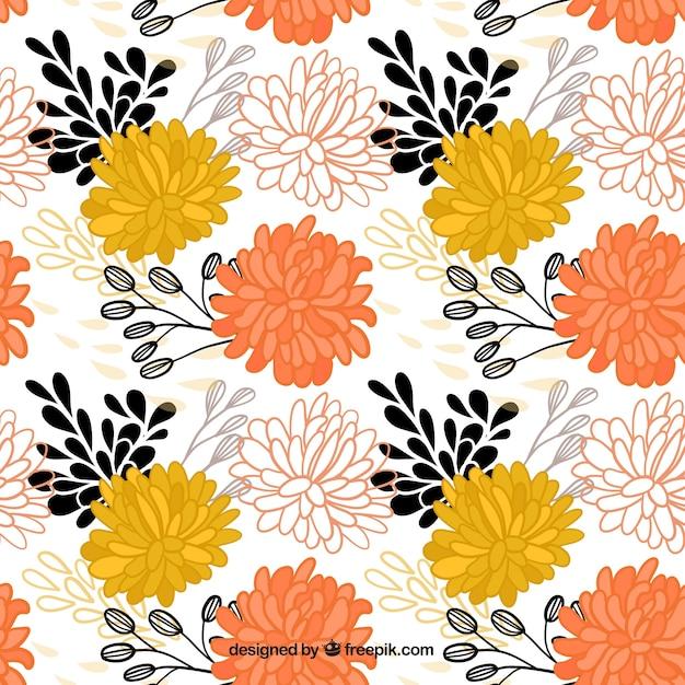 Hand drawn ornamental flowers pattern  Free Vector
