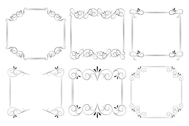Коллекция рисованной декоративных рамок Бесплатные векторы