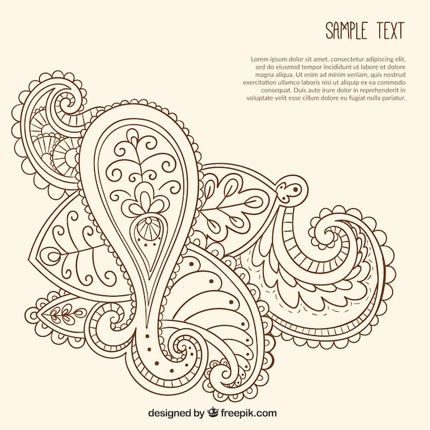 Hand drawn ornamental paisley template Free Vector