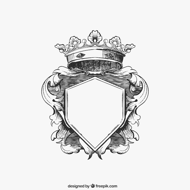 Hand drawn ornamental shield Free Vector
