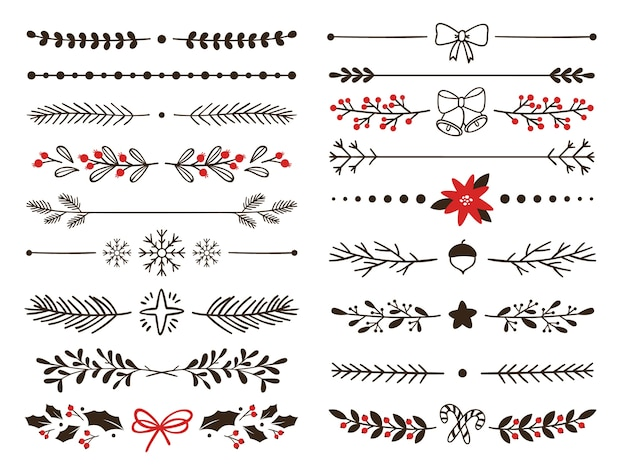 Hand drawn ornamental winter dividers. snowflakes borders, christmas holiday decor and floral ornate dividers Premium Vector
