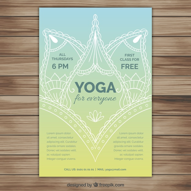 Hand Drawn Ornamental Yoga Flyer Vector Free Download