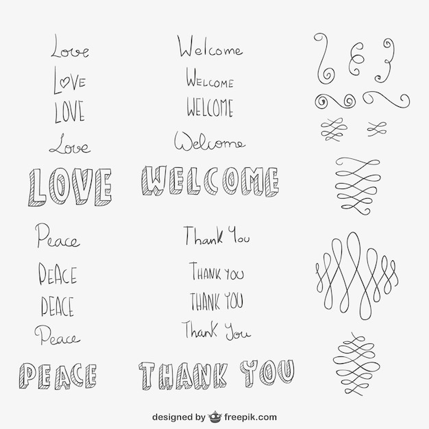 hand drawn ornaments and words free vector
