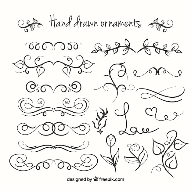 7f7776a93694 Hand drawn ornaments collection Free Vector
