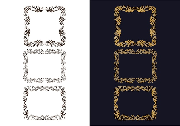 Hand drawn ornaments decorative floral frame set design Free Vector