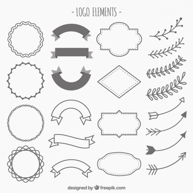 Hand drawn ornaments for logos  Free Vector