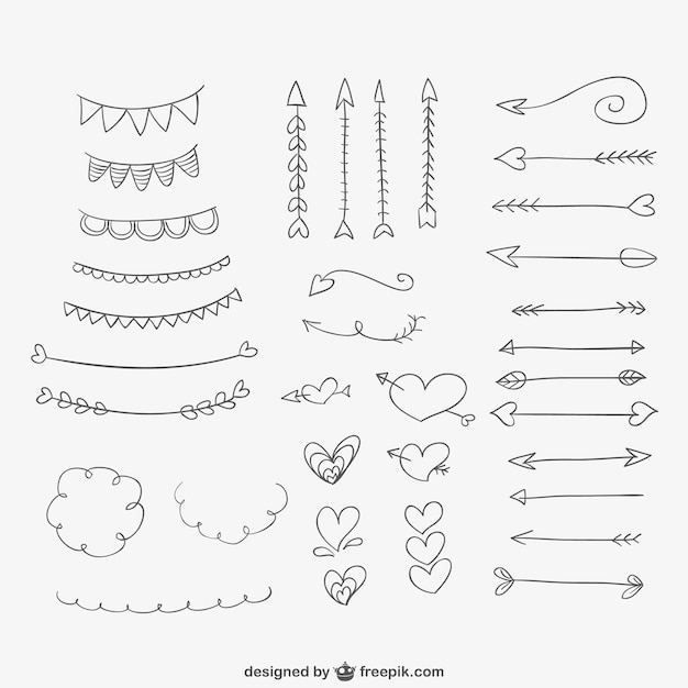 Hand drawn ornaments, hearts and arrows Free Vector
