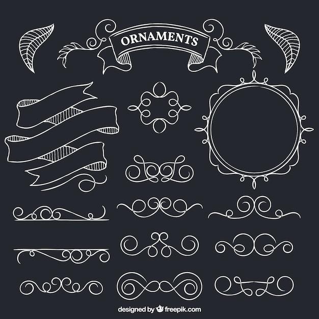 Hand drawn ornaments on blackboard