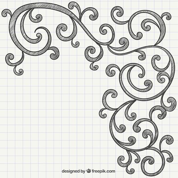Hand drawn ornaments vector free download for Decoraciones para hojas