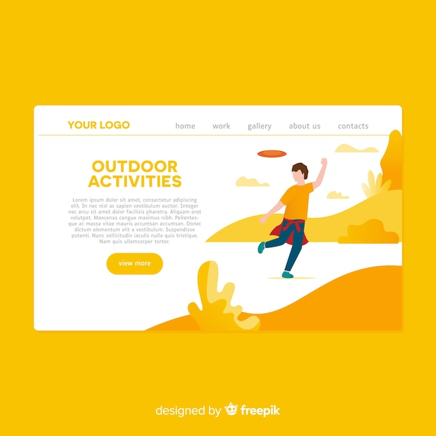 Hand drawn outdoor activities landing page Free Vector