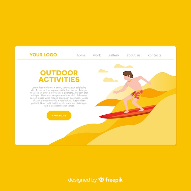 Hand drawn outdoor activities landing page Free Vector