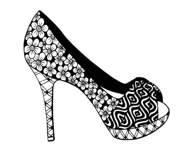 Hand drawn outline ornamental high heel shoe illustration Premium Vector