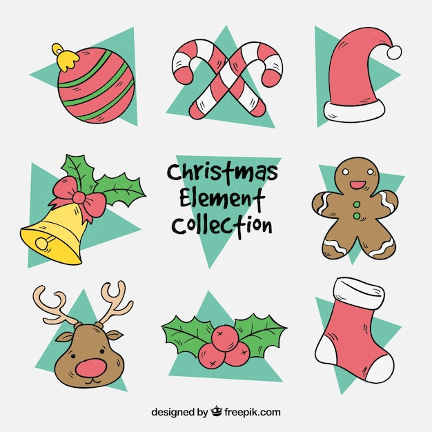 Hand drawn pack of christmas elements Free Vector