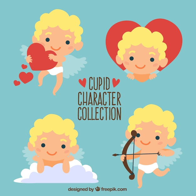 Hand-drawn pack of cute cupid character smiling Free Vector