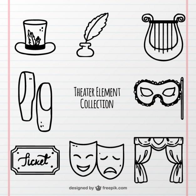 Confezione disegnata a mano di oggetti teatrali fantastici Vettore gratuito