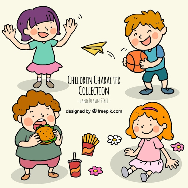 Hand-drawn pack of happy children doing different actions Free Vector