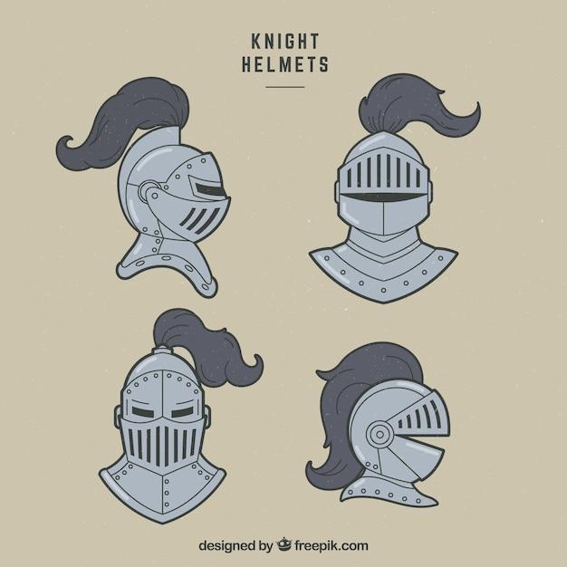 Pacchi disegnati a mano di caschi dei cavalieri Vettore gratuito