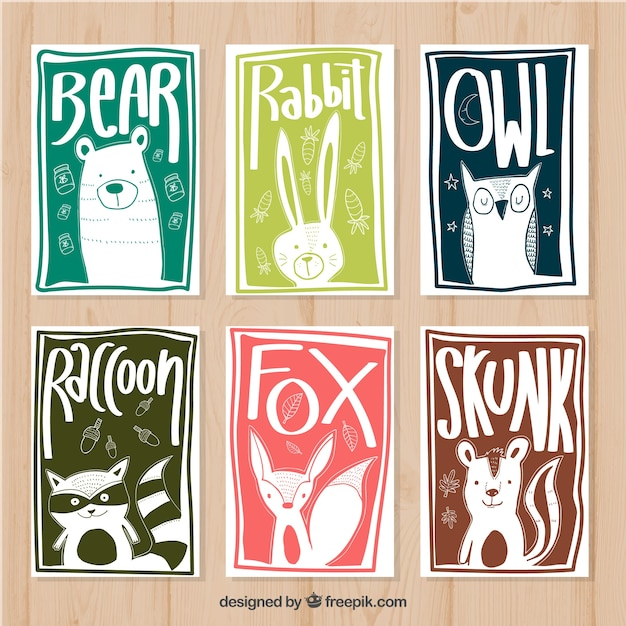 Hand drawn pack of animal cards with modern style