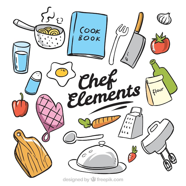 Hand drawn pack of chef elements vector free download - Utensilios de chef ...
