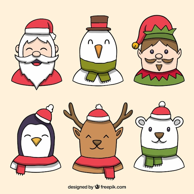 Hand drawn pack of christmas characters