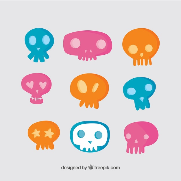 Hand-drawn pack of colored skulls