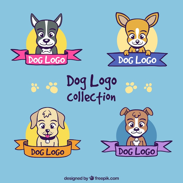 Hand-drawn pack of four colored logos with dogs